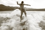 Drew Barber surfs a boat-made wave at Vallecito Reservoir going 11 miles an hour.