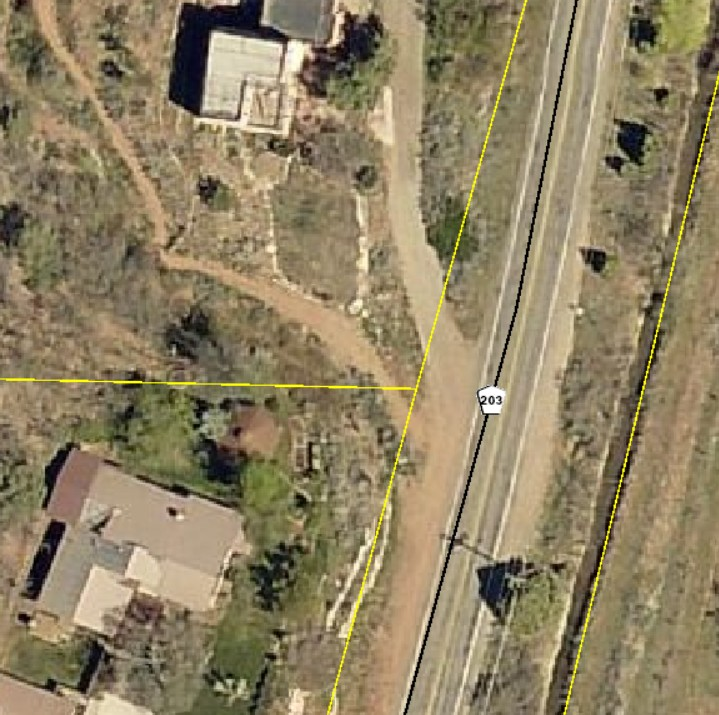 Screenshot from La Plata Maps of CR 203 right-of-way
